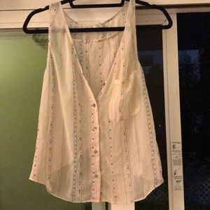 F21 LRG sheer tank w v neck & open back